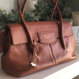 British Tan, Radley Pebbled Leather Shoulder Bag.
